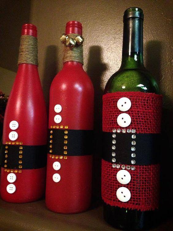 46 Centros de mesa para navidad con botellas 21