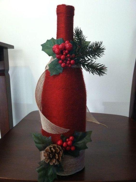 46 Centros de mesa para navidad con botellas 13