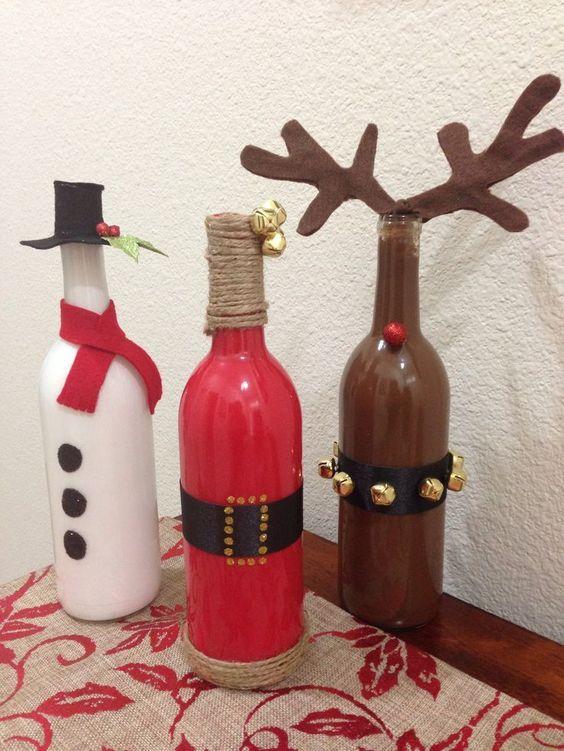 46 Centros de mesa para navidad con botellas 15