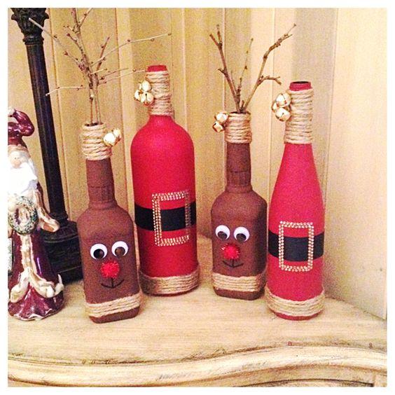 46 Centros de mesa para navidad con botellas 17