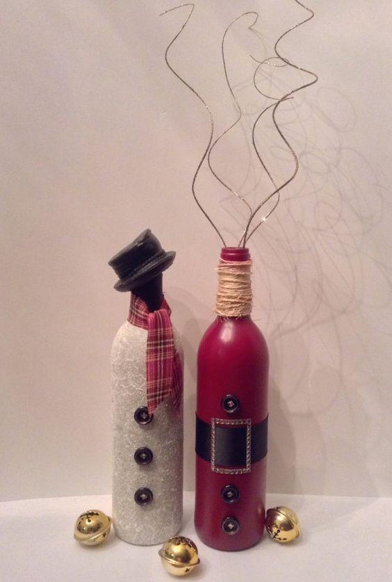 46 Centros de mesa para navidad con botellas 19