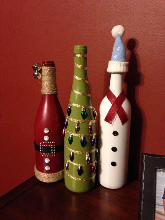 46 Centros de mesa para navidad con botellas 20