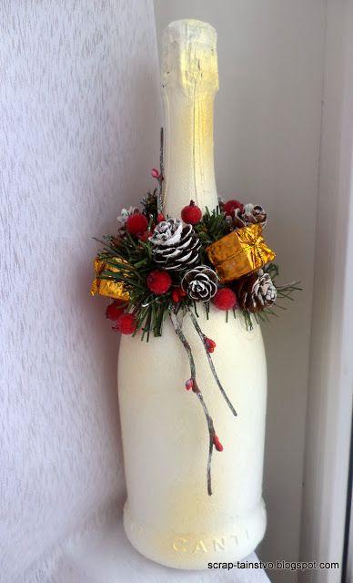Centros de mesa para navidad con botellas ideas creativas - Centros de mesa navidenos hechos a mano ...
