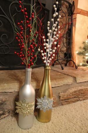 46 Centros de mesa para navidad con botellas 7