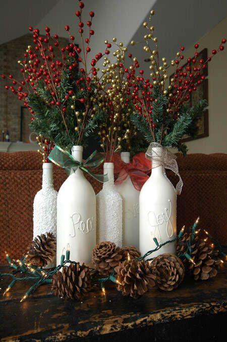 46 Centros de mesa para navidad con botellas 10