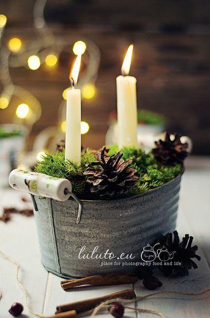 Centros de mesa navideño con piñas preciosos 27