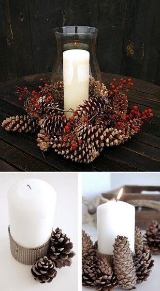 Centros de mesa navideño con piñas preciosos 8