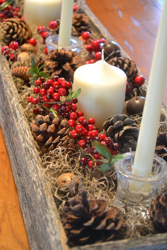 Centros de mesa navideño con piñas preciosos 2