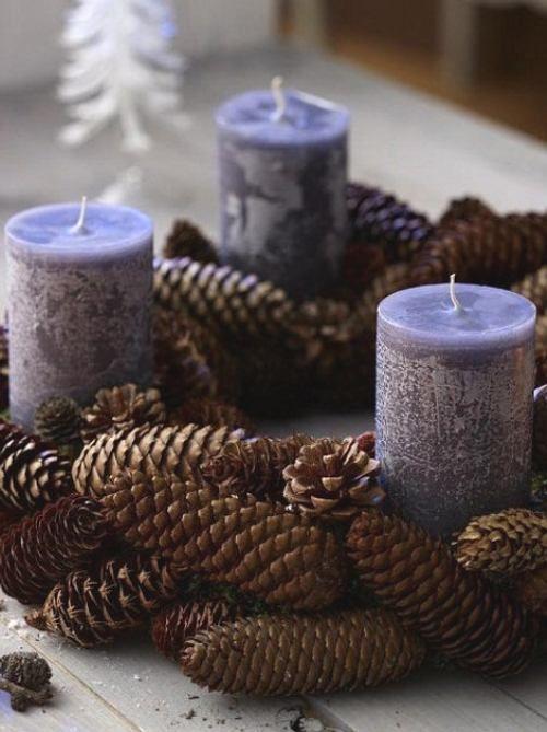 Centros de mesa navideño con piñas preciosos 3