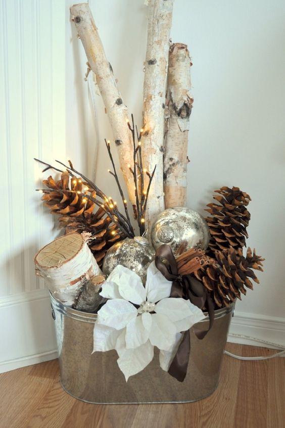 Centros de mesa navideño con piñas preciosos 22