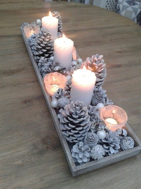 Centros de mesa navideño con piñas preciosos 15