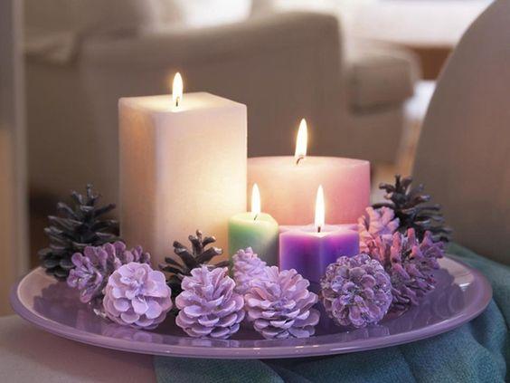 Centros de mesa navideño con piñas preciosos 17