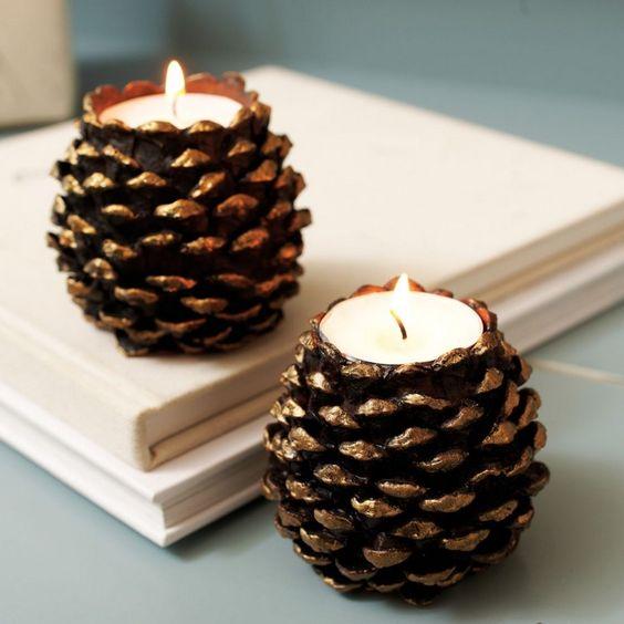 Centros de mesa navideño con piñas preciosos 43