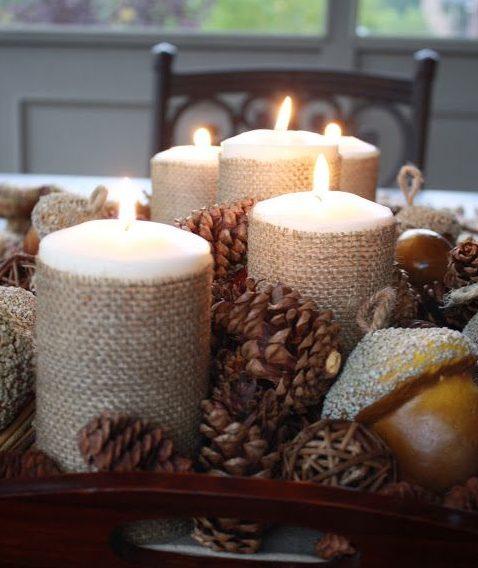 Centros de mesa navideño con piñas preciosos 49