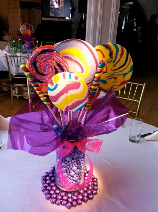 Excelentes ideas de centros de mesa con dulces 21