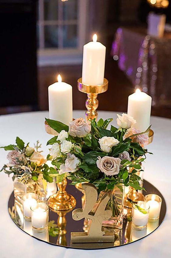 Centros de mesa con velas. Pura sencillez y elegancia 2