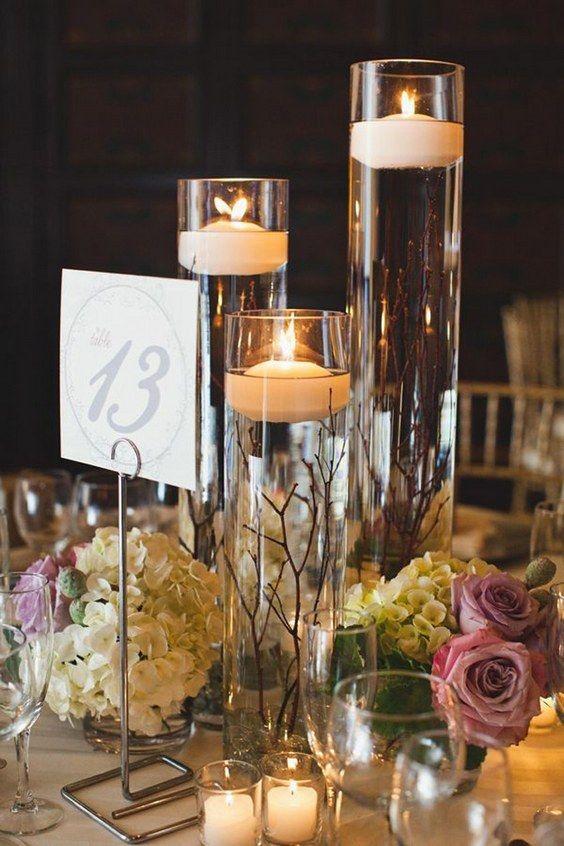 Centros de mesa con velas. Pura sencillez y elegancia 3