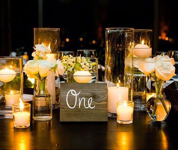 Centros de mesa con velas. Pura sencillez y elegancia 5