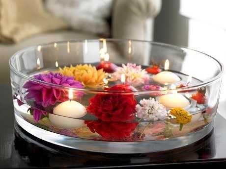 Centros de mesa con velas. Pura sencillez y elegancia 14