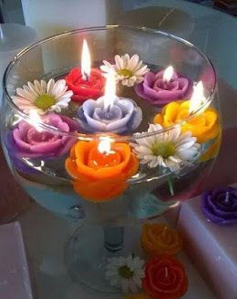 Centros de mesa con velas. Pura sencillez y elegancia 17